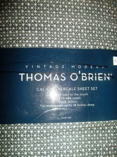 Thomas OBrien Cal King Sheet Set Dark Navy Blue Vintage Modern