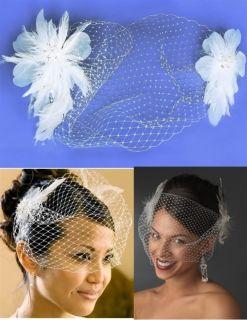 Feather Fascinator Wedding Bird Cage Veil Bridal Hat