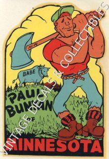Vintage Paul Bunyan of Minnesota Babe Souvenir Travel Decal Water
