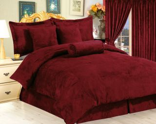 7pc Burgundy Suede Comforter Set Bed in A Bag Cal King