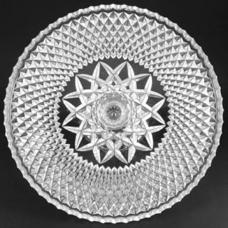EAPG Glass Pedestal Cake Stand Diamond Star Design