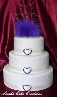 Heart Feathers Cake Topper Set Wedding Birthday Anniversary Decoration