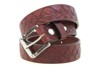 Mens 1 1 2 Burgundy Leather Belt Skull Embossing Matching Buckle 3D