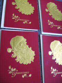 Vintage BURGOYNE Santa Claus Christmas Cards, UNSIGNED w/ ENVELOPES
