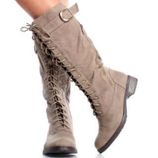 Toe Lace Up Women Combat Military Flat Mid Calf Boots Size 7 5