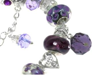 Purple Butterfly Swarovski Crystal Beads 19cm Stamped 925 Charm