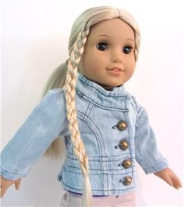 Faded Denim Blue Jacket Button Down Doll Clothes Fits American Girl