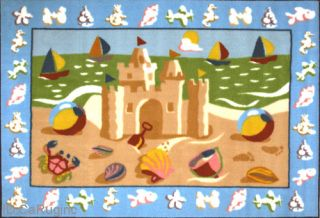 3x5 Rug Sand Castle Ocean Time Beach Play Mat Kids Children 39x58