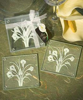150 Calla Lily Bouquet Glass Coasters Sets of 2 Wedding Favors