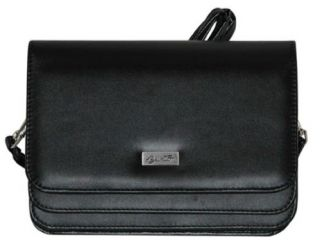 Buxton Black Double Flap Mini Bag Organization Clutch Wallet Shoulder