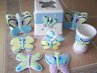 25 PIECE CERAMIC BUTTERFLY BATHROOM ACCESSORY SET. WHITE W/PINK,YELLOW