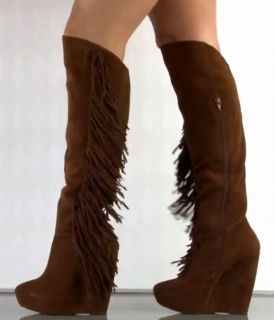 Steve Madden Badgess Suede Leather Fringe Knee High Platform Boot $