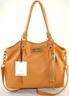 Calvin Klein Luxury Leather Camel Crossbody Tote Bag Handbag Purse