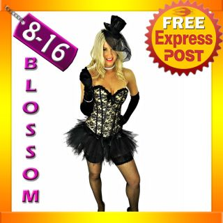 8155 Sexy Burlesque Black Gold Corset Tutu 8 10 12 14