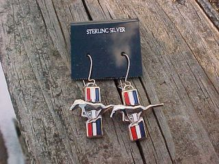 Ford Mustang Pony Chrome Sterling Silver Earrings Mint