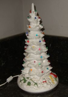 Ceramic Christmas Tree 16 Lighted Byron Mold White Mid Century