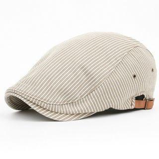 Newsboy Beret GATSBY Flat Golf Cabbie CAP Hat DND BEIGE Stripe Fasihon