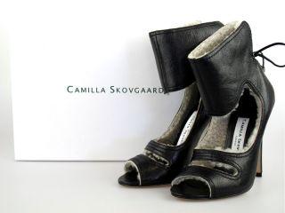 Camilla Skovgaard Black Stiletto SZ35 Lamb Fur at Socialite Auctions