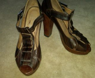 Jeffrey Campbell Ruffy Brown Leather Womens Peep Toe High Heel Shoes