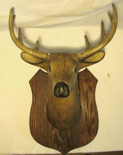 Folk Art Wooden Carved Buck Deer Taxidermy Trade Sign