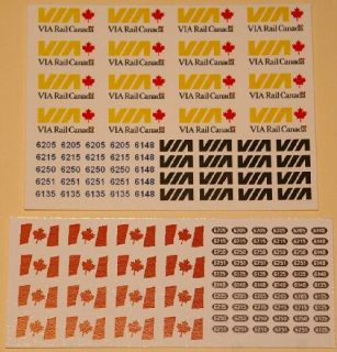 VIA Rail RDC Decal Set in HO scale (decals and numbers for six RDCs)