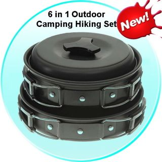6in1 Outdoor Camping Hiking Travel Cooking Utencil Mini Pan Tools Gear