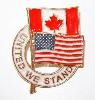United We Stand Canadian American Flag Canada USA Pin