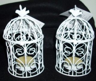 Set of Two Bright White Metal Bird Cage Candle Holders w Bird Tea
