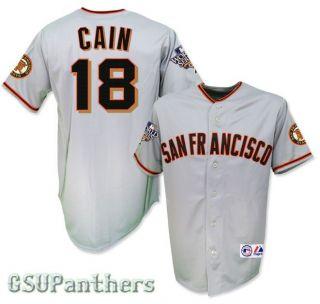 2010 Matt Cain SF Giants World Series Grey Road Jersey