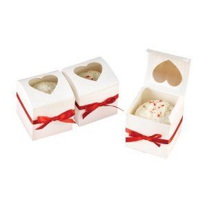White Peek Through Heart Cup Cake Favor Boxes Set of 24