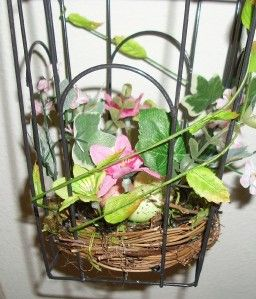 Metal Decorative Bird Cage with Woodland Birds Nest, Eggs, Moss, Vines