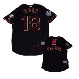 Giants #18 Cain 2010 World Series Black Jersey sz M/L/XL/2XL