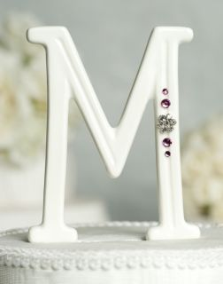 Porcelain Crystal Monogram Letter Wedding Cake Topper