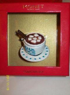 Monet Collectible Hot Chocolate Keepsake Trinket Box Candy Cane Charm