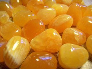 Calcite Orange 1 Medium Tumbled Stones MD Crystal Healing Reiki Wicca