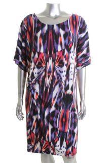 Calvin Klein NEW Printed Multi Color Dolman Short Sleeve Casual Dress