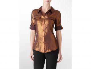 Calvin Klein Womens Silver Silky Roll Up Top Shirt