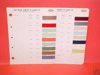1959 Ford Thunderbird Paint Chips Color Chart Canada