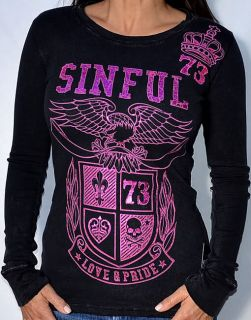 Sinful by Affliction Calera Womans Long Sleeve Thermal Black S2214