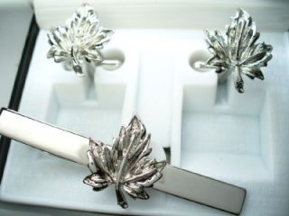 maple leaf silver canada tie bar gift boxed  usa hockey