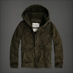 NWT Abercrombie Fitch Calamity Military Jacket Coat Mens Medium Olive