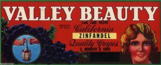 Crate Label Vintage California Grape Wine Mondavi Valley Beauty Pin Up