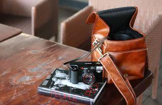 Brown Faux Leather DSLR SLR Camera Shoulder Sling Bag Case Pouch for