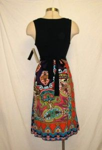 CALESSA Black & Multi SILK Sleeveless Dress M NWT