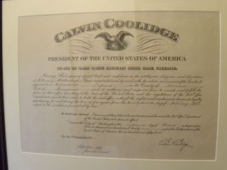 Calvin Coolidge Postmaster Appointment Signed for Driftwood PA