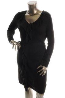 Calvin Klein New Black Belted Sweater Casual Dress XL BHFO