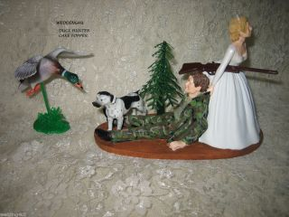 Funny Wedding Duck Fowl Camo Hunter Hunting Cake Topper