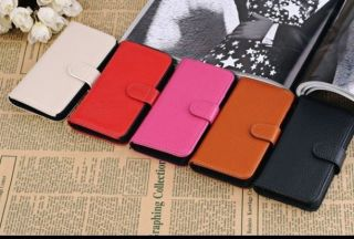 iPhone 5 Leather Case Wallet Stand w Credit Card ID Holder