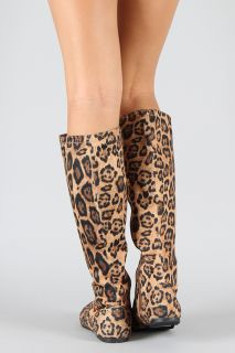 New Sexy Animal Print Lace Up Flat Womens Zip Up Knee High Fashion