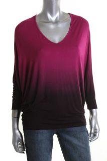 Capote New Pink Modal DIP Dye V Neck Dolman Sleeve Oversized Pullover